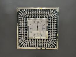 square shape decor mirrored wall clock