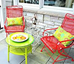 painting iron patio furniture repaint patio furniture spray painted brightly colored wicker and wrought iron patio