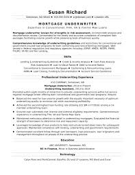 Mortgage Underwriter Resume Sample | Monster.com