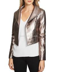 women s moto 1 state special style cropped metallic faux leather moto jacket in silver