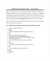 Free 4 Dissertation Questionnaire Examples Samples In Pdf