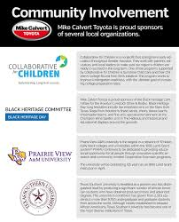 Toyota Houston Tx Mike Calvert Toyota Community Involvement New Toyota Scion