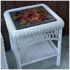 wicker side table pressed foliage leaves