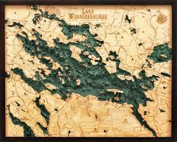 Lake Winnipesaukee 3 D Nautical Wood Chart 24 5 X 31 Dark Frame