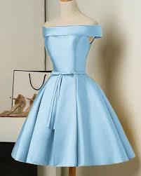 Light Blue Semi Dress Gold Color Short Party Dresses A Line Satin Semi Formal Gown