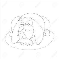 Vettoriale Dormire Cane Bianco E Nero Disegnati A Mano Contorno