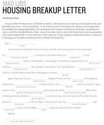Housing Breakup Letter