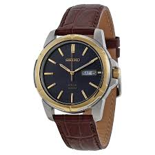 seiko men s core 39mm brown leather band steel case hardlex crystal solar blue dial og watch sne102 com