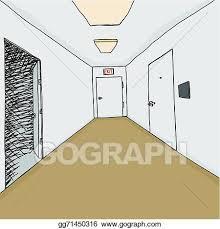 open door drawing. Vector Art - Corridor Cartoon Background With Open Door Into Darkness. Clipart Drawing Gg71450316