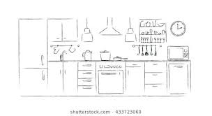kitchen furniture plans. Kitchen Interior Sketches Hand Drawing Front View Contour Vector  Illustration Furniture And Equipment Cabinet Building Plans Kitchen Furniture Plans I