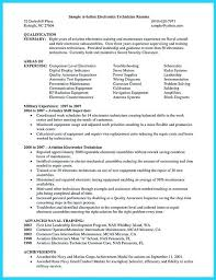 Sample Resume For Electronics Technician Resume Electronic Technician Electronics Template Socialum Co