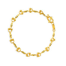 pure 999 24k yellow gold women s twisted piece bead bracelet 4 1g double chain pwjxce6590 precious metal without stones