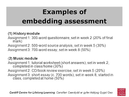 dr nick jones embedding assessment into course design a view  examples of embedding assessment