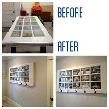 love this idea old door turned into picture frame and coat rack