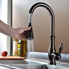 antique pullout spray sidespray pre rinse brass oil rubbed bronze kitchen faucet at faucetsdeal