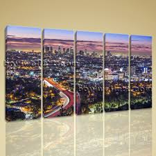 grand los angeles wall art house interiors large panorama cityscape on canvas giclee print dodgers