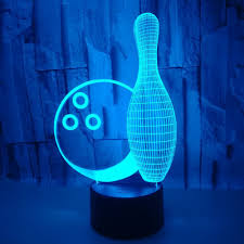 Light Bowling Us 11 25 25 Off New Bowling 3d Small Night Lights Seven Color Touch Remote 3d Led Creative Small 3d Light Fixtures Kids Room Led Lamp In Led Night
