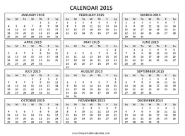 Free Printable Calendar 2015 By Month 2015 12 Month Calendar Magdalene Project Org
