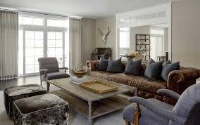 chesterfield sofa in living room. Exellent Room Brown Leather Chesterfield Sofa With Dark Grey Pillows To In Living Room I