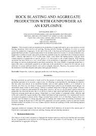 Pdf Rock Blasting And Aggregate Production With Gunpowder
