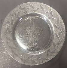 10 clear frosted glass coca cola dinner plates