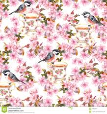 Design Paper Background Flower Tea Cup Birds And Flowers Seamless Floral Pattern