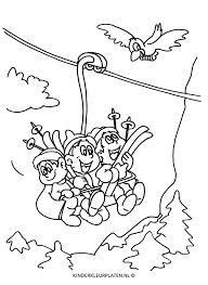 Kleurplaat Skivakantie Skilift Alpen Vakantie