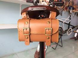 details about leather bicycle saddle bag handmade for brompton brooks vintage honey