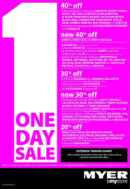 myer 1 day up to 40 % off on selected categories ozbargain