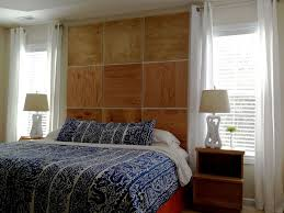 Bedroom:Alluring Wooden Headboard Ideas With Square Shape Also Cone Table  Lamp Plus Blue Artistic