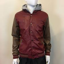 obey mens red brown faux leather baseball varsity jacket hoo large