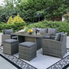 brown set patio source outdoor. Best Choice Products Complete Outdoor Living Patio Furniture 6-Piece Wicker Dining Sofa Set Brown Source