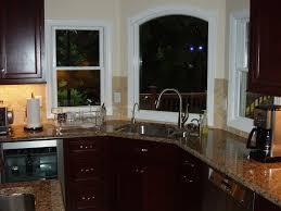 ... Astounding Kitchen Decoration Ideas Using Corner Kitchen Sinks :  Delectable L Shape Kitchen Decoration Using Black ...