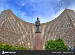 famous architecture in the world. Famous French President Charles De Gaulle Monument In Front Of International Hotel Cosmos Curved Building, USSR Russia Architecture. World Architecture The D