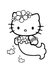 Hello kitty among flowers and hearts. Hello Kitty Mermaid Coloring Pages Free Printable Hello Kitty Mermaid Coloring Pages