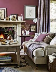 living ideas living room purple walls bright furniture fireplace