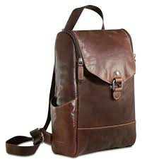 jack georges voyager 7137 brown leather convertible backpack cross new