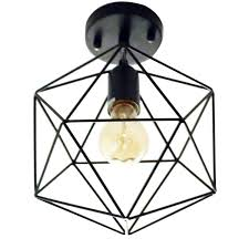 cage lighting. Unitary Brand Antique Black Metal Cage Shade Semi Flush Mount Ceiling Light With 1 E26 Bulb Socket 40W Painted Finish Lighting