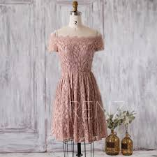 2016 dusty rose bridesmaid dress one shoulder lace neck wedding
