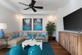 image of armless grey and blue living room
