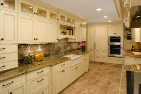 off white painted kitchen cabinets. Large Old Kitchen After Remodel Design With Chalk Cream Colored Painted Cabinets Ceramic Floor Tiles And Mosaic Backsplash Marble Off White T
