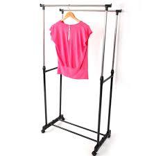 Adjustable Coat Rack Mesmerizing Double Heavy Duty Rail Adjustable Rolling Garment Rack Coat Stand