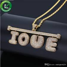 whole hip hop designer jewelry mens iced out pendant custom name necklace bubble letter chain luxury gold diamond pandora style charms bling women
