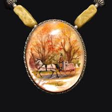 antique mother of pearl pendant pin set in sterling silver hand painted with