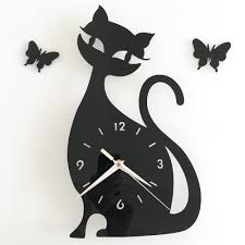 small bathroom clock: tanghome d diy xcm cute cat butterfly mirror wall clock modern design kitchen bathroom home decor