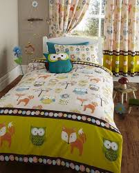 Owl Curtains For Bedroom Single Bed Duvet Cover And 1 Pillow Case Set Woodland Creatures