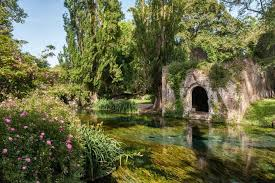 ninfa lazio italy the exceptionally clear water of the river flowing through this
