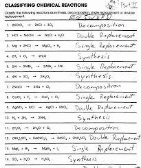 pictures balancing equations and reaction types worksheet answers