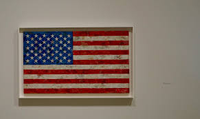 flag from 1967 by jasper johns on display at the broad museum exhibition of the artist s work photo by matt carey