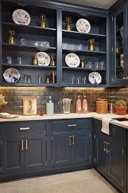 dramatic navy blue open cabinetry with a graphite black splash